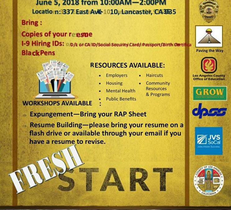 Fresh Start Reentry Resource Fair-June 5th 2018